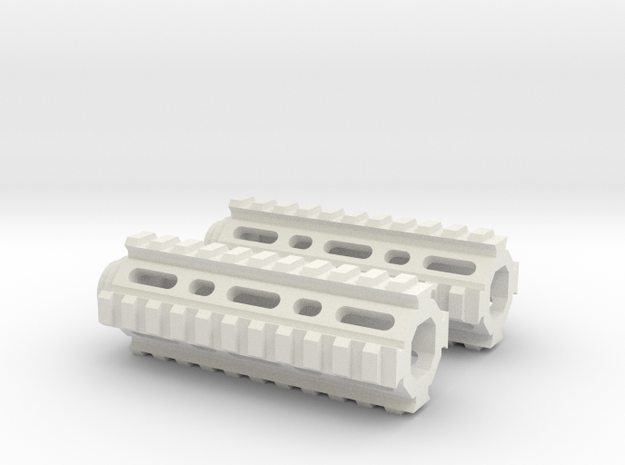 1/6 scale generic RIS hand guard x2 w/ 1mm teeth 3d printed