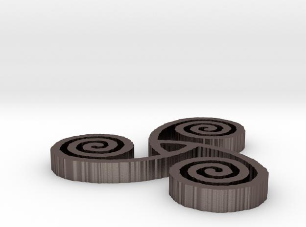 "Celtic Triple Spiral (1"") in Polished Bronzed Silver Steel"