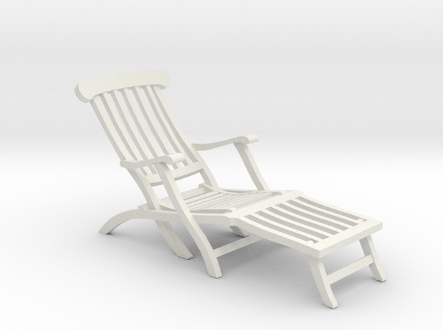 1:24 Titanic Deck Chair in White Natural Versatile Plastic