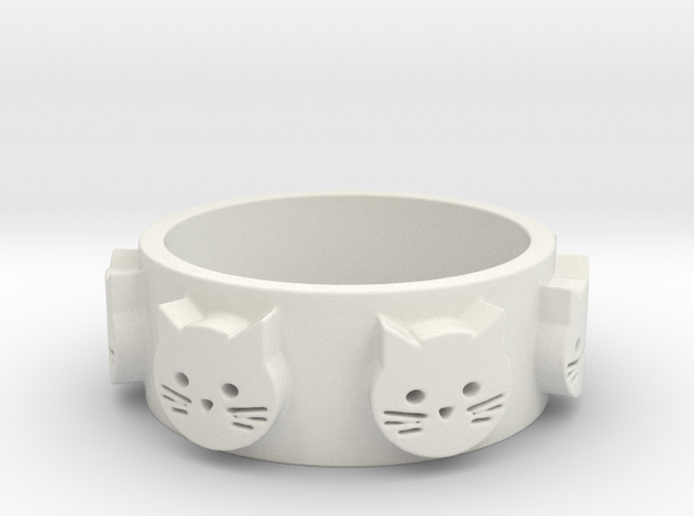 Ring of Seven Cats Ring Size 7 in White Natural Versatile Plastic