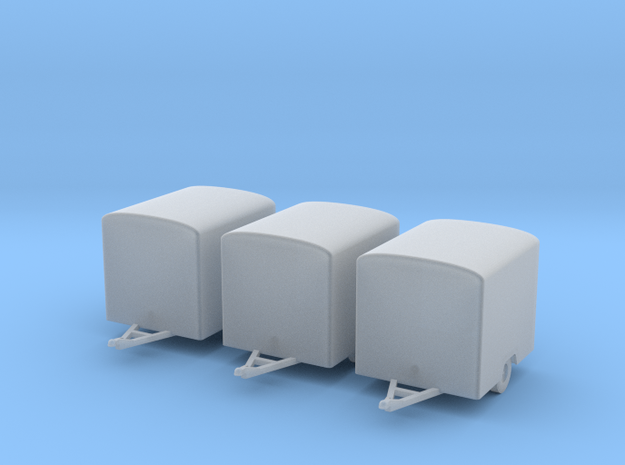 Box Trailers x3 HO 1/87 Similar to old UHaul 3d printed