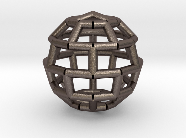 Brick Sphere 3 in Polished Bronzed Silver Steel