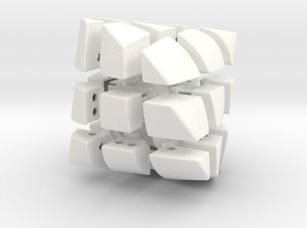 Mini 3x3x3 Bicone in White Processed Versatile Plastic