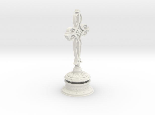 Decorative Cross with hollow base in White Natural Versatile Plastic
