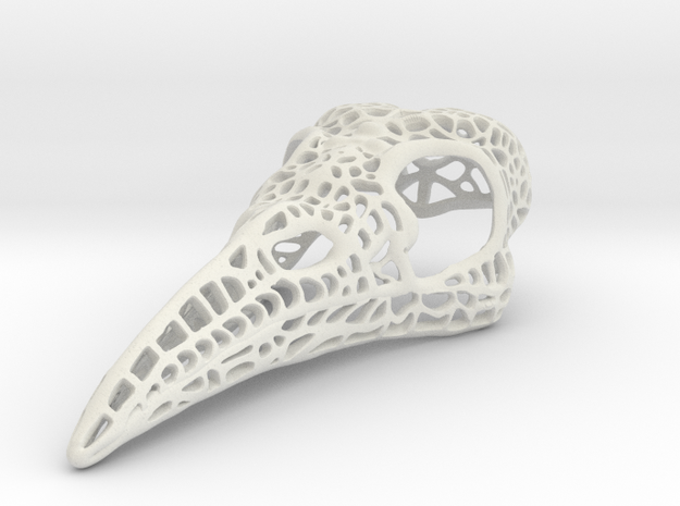 Filigree Raven Skull - LARGE in White Natural Versatile Plastic