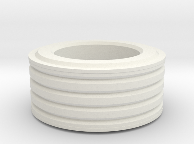 Grooved Ring (small) in White Natural Versatile Plastic