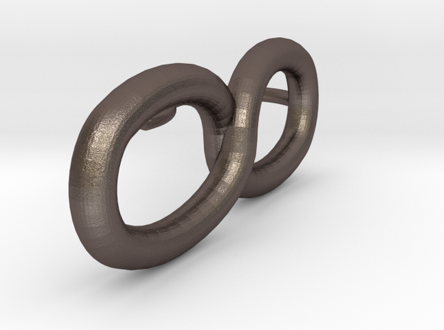 Pendiente infinito in Polished Bronzed Silver Steel