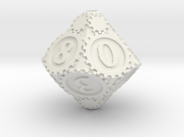 D10Gearpunk in White Natural Versatile Plastic