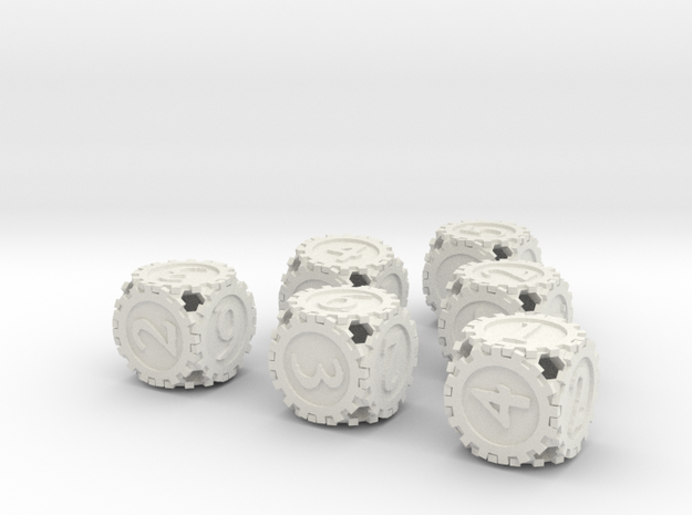 GearpunkDice6D6Set in White Natural Versatile Plastic