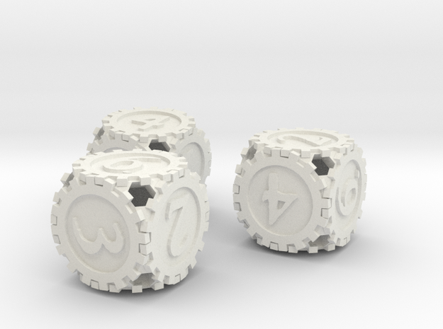 GearpunkDice3D6Set in White Natural Versatile Plastic