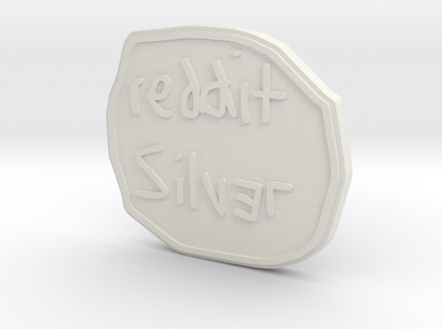 Reddit Silver Coin in White Natural Versatile Plastic