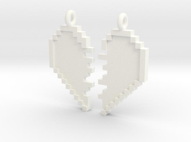 Pixel Heart Friendship Pendant in White Processed Versatile Plastic