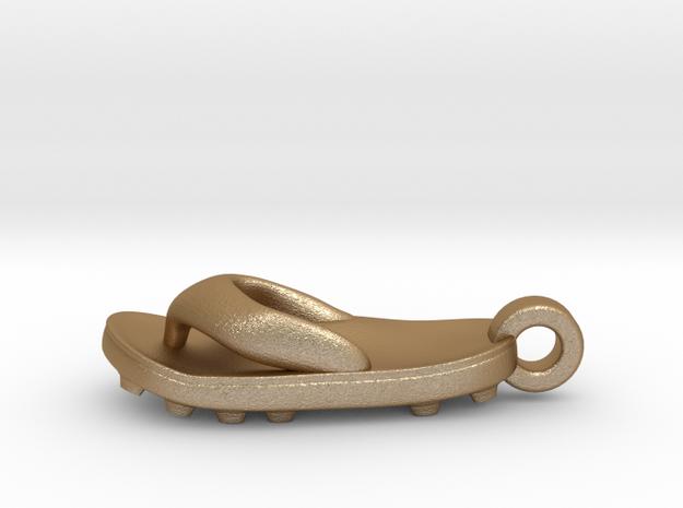 Soccer / football flipflop pendant 3d printed flipflop sandalMatte Gold Steel