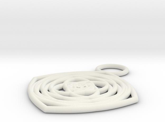 Flower Key Chain in White Natural Versatile Plastic