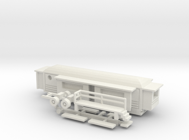 Wohnwagen rundes Dach  1:160 (n scale) - Ver. 2 in White Strong & Flexible