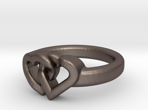 Entangled Love Small Sz15 in Polished Bronzed Silver Steel