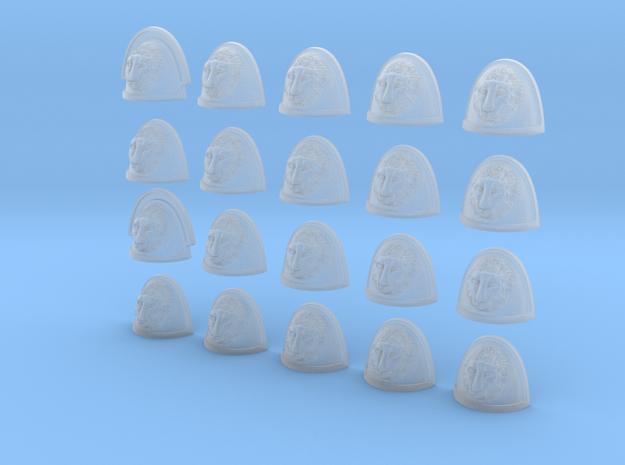 20 28mm Custom Shoulder Pad 3D Lion in Smooth Fine Detail Plastic