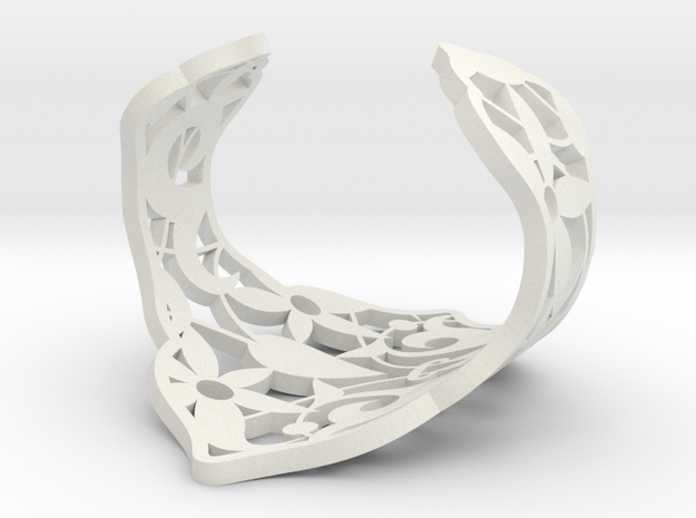 Alhambra cuff bracelet by The Decahedralist 3d printed In black strong & flexble