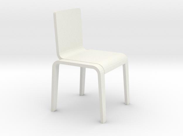 1:24 Bent Chair in White Natural Versatile Plastic