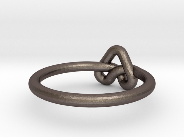 Love Knot-sz18 in Polished Bronzed Silver Steel