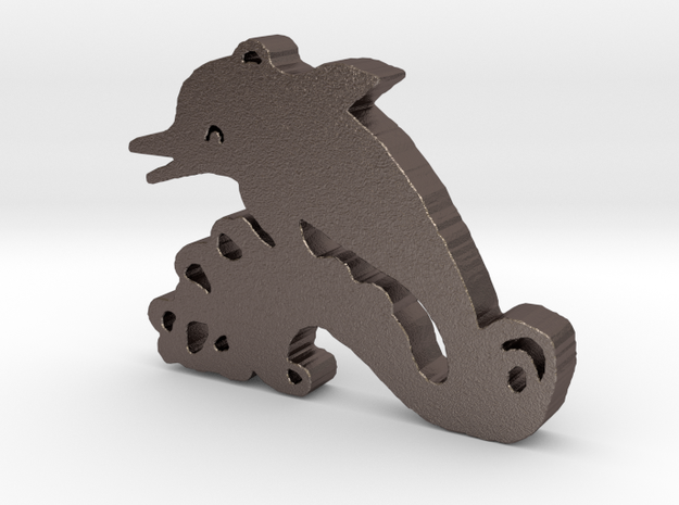 Happy Dolphin in Polished Bronzed Silver Steel