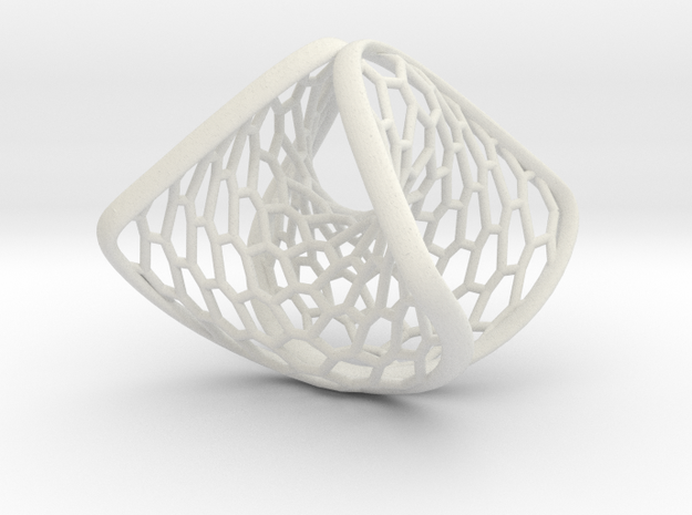 Hexagonal Space Warp | ring in White Natural Versatile Plastic