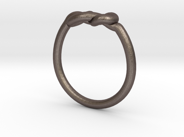 Infinity Knot-sz17 in Polished Bronzed Silver Steel