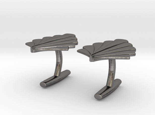 Art Deco Palm Cufflinks in Polished Nickel Steel