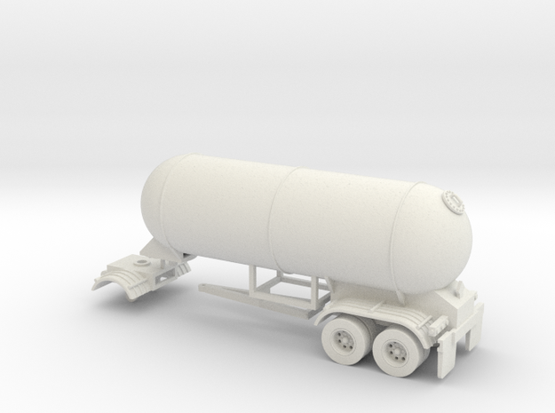 HO 1/87 LPG twin-axle Calf/Pup tanker, trailer 15 in White Natural Versatile Plastic