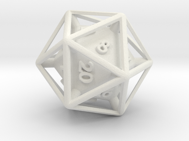 D20 Cased in White Natural Versatile Plastic