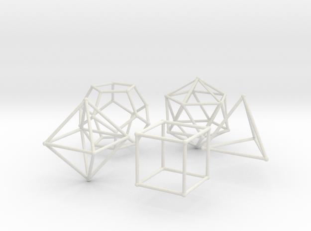 Plato Polyhedra radius 1 in White Natural Versatile Plastic