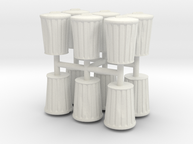 15mm DentedTrashCans in White Natural Versatile Plastic