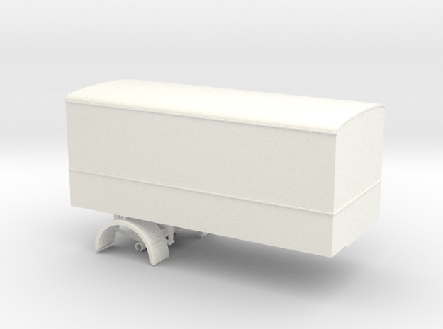 1:43 Single Axle Trailer  in White Processed Versatile Plastic