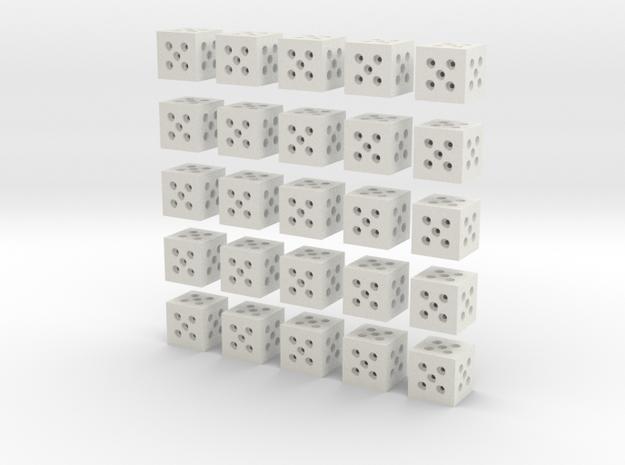 Building Block 1x1 (x25) in White Natural Versatile Plastic