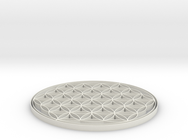 Flower of life coaster 80x3mm in White Natural Versatile Plastic