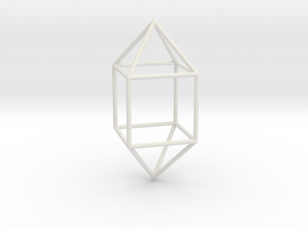 ElongatedSquareDipyramid 70mm in White Natural Versatile Plastic