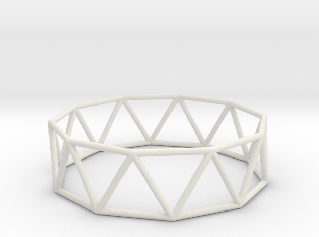 decagonal antiprism 70mm in White Natural Versatile Plastic