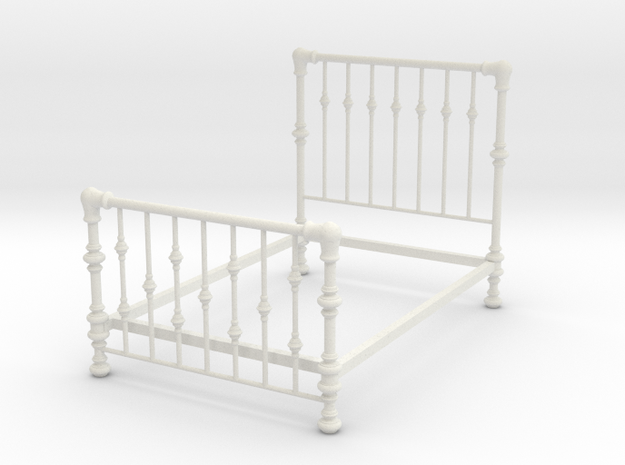 1:24 Brass Bed 3 in White Natural Versatile Plastic