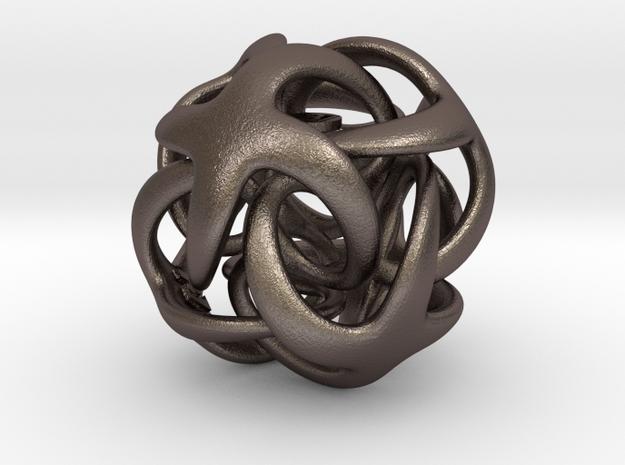 Octa Digisol - 22mm pendant in Polished Bronzed Silver Steel