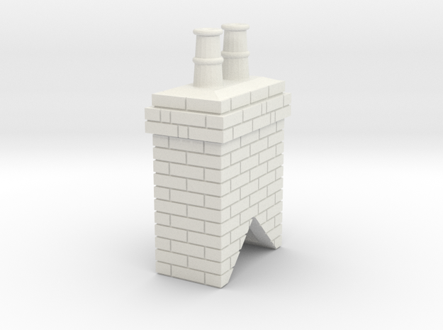 Chimney Stack 1 OO Scale in White Natural Versatile Plastic