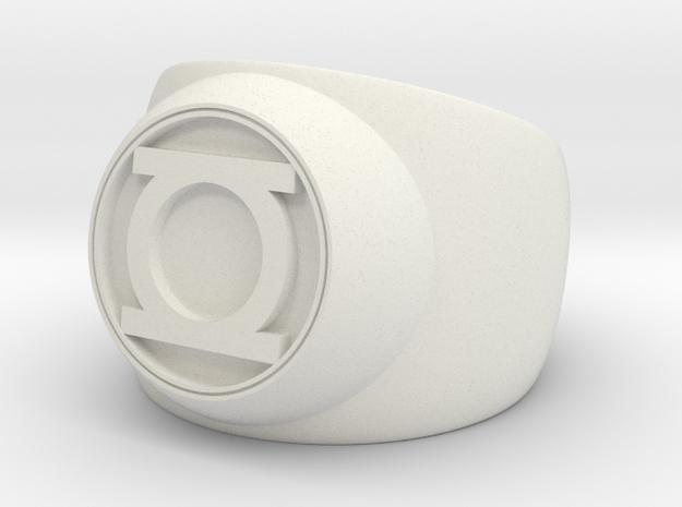 Green Lantern Ring- Size 8 in White Strong & Flexible