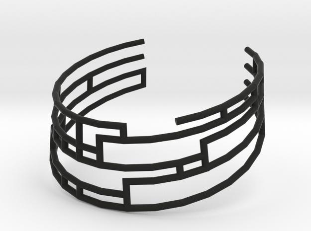 Collar Necklace S01-cylinders steel&plastic in Black Natural Versatile Plastic