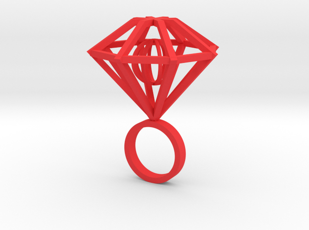 Ring-diamond-moving Part size 9 in Red Processed Versatile Plastic