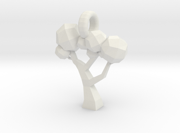 Low Poly Tree pendant in White Natural Versatile Plastic
