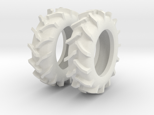 1:64 scale 20.8-38 Rice And Cane Tires in White Natural Versatile Plastic