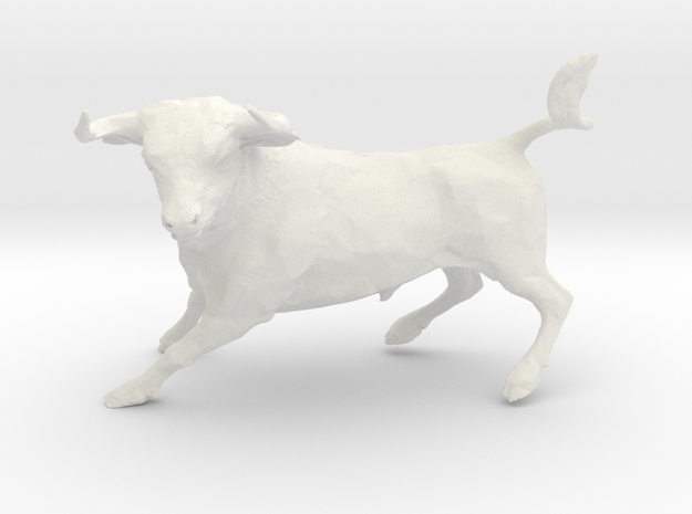 Wall Street Stock Market Bull in White Natural Versatile Plastic