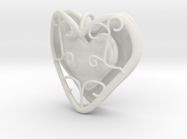 Heart Container Pendant in White Natural Versatile Plastic