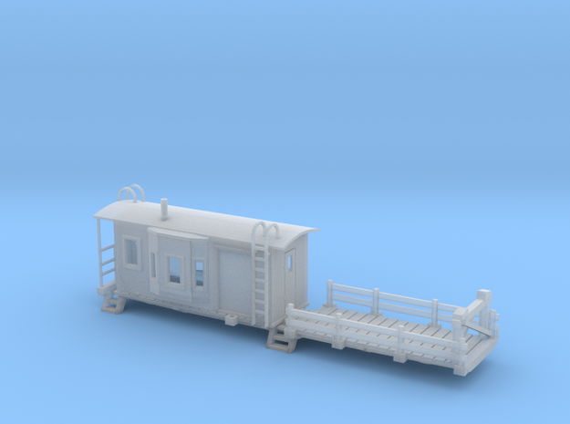 Bay Window Caboose Flat Car N Scale in Smooth Fine Detail Plastic