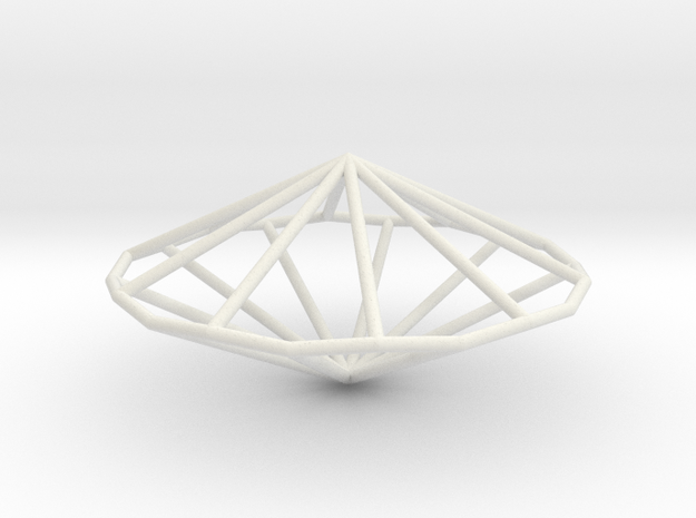 DecagonalTrapezohedron 70mm in White Natural Versatile Plastic