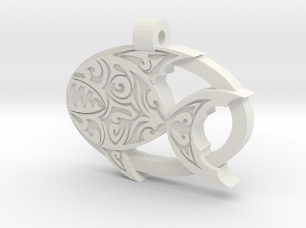 Piranha Pendant in White Natural Versatile Plastic